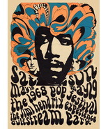1968 Jimi Hendrix Miami Pop Festival Poster Lithograph Re-issue - $20.00