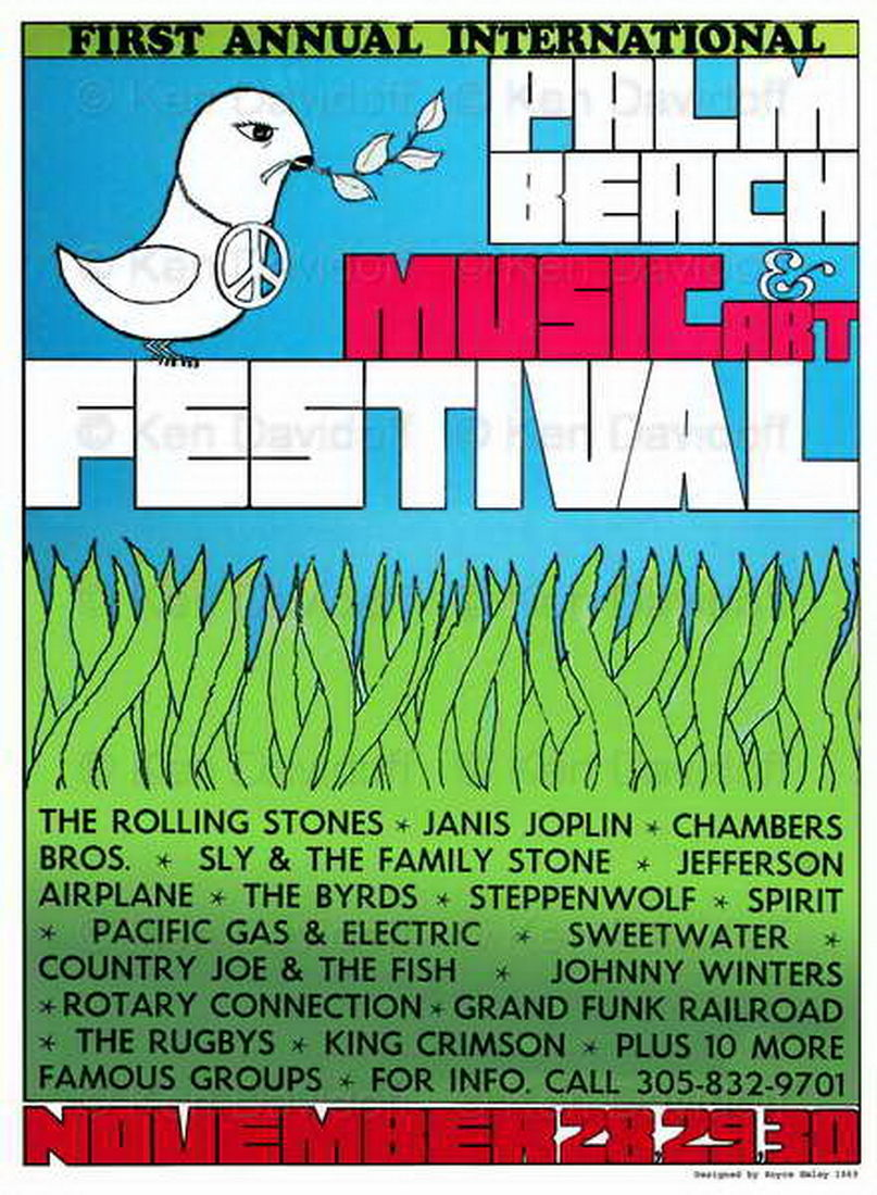 1969 Palm Beach Pop Festival Poster Lithograph
