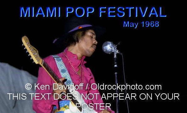 Miami Pop Festival Jimi At Night Poster 12x18