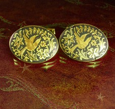 Wedding Dove Cuff links LARGE Elegant Victorian Love bird cufflinks Damascene go - $110.00