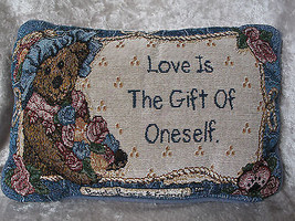 "BOYDS BEARS & FRIENDS TAPESTRY PILLOW ""LOVE IS ... - $13.56"