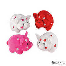 Dozen Plush Valentine Pigs with Embroidered Hearts - $28.36