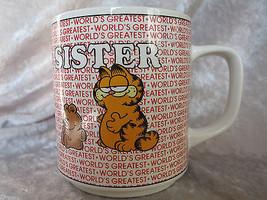 Vintage 1978 Garfield Cat World's Greatest Sister Coffee Mug E 7416 - $16.59