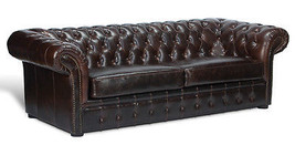 Awesome Vintage Cigar Birch Brown Chesterfield Tufted Leather Sofa,91'' - $2,128.50