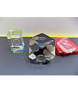 3 desk toys 13 Sided LUCITE DICE LAS VEGAS w/ COINS, GLASS APPLE & WA OR... - $22.80