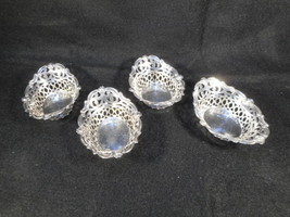 Vintage Quadruple Plate Silver Set of 4 Small Reticulated Nut Bon Bon Bowls - $68.31