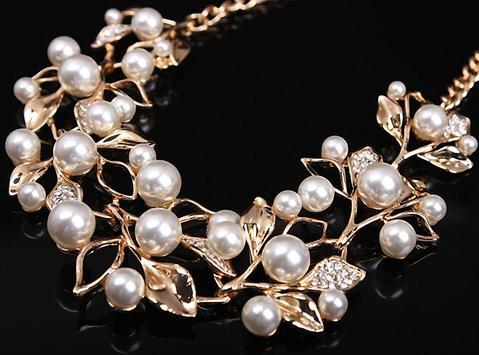Match-Right Vintage Simulated Pearl Leaves Theme Necklace for Women image 5
