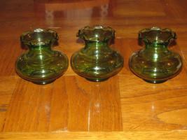 """Four Vtg Green Anchor Hocking Vases 3 1/2"""" High Scalloped Edge Flowers Vanity - $16.79"""