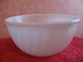 "FIRE KING BOWL WHITE SWIRL DESIGN 9"" ACROSS 2 AVAILABLE - $3.50"