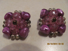 VINTAGE 2 PAIR OF EARRINGS PURPLE & SILVER-BLUE & GOLD-CLIP ON 1940'S-50'S - $15.00