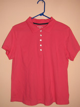 Top Knit Riders By Lee Xl Hot Pink/Fushia Collar 5 Buttons Casual Golf Stretchy - $8.91