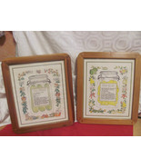 VINTAGE 1980'S KITCHEN PICTURES PEARS CUCUMBERS-WOOD FRAMES-RECIPES-WALL... - $20.99