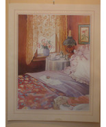 "PRINT BY LAURIE ERICKSON ""BEDROOM WINDOW"" OIL LAMP-LACE-LOVE NOTE-1988 S... - $1.49"
