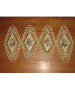 VINTAGE BURWOOD PRODUCT DIAMOND SHAPE PLAQUE FLOWERS HOMCO GOLD TRIM RET... - $19.99