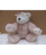 "VINTAGE BOYD'S RETIRED 11"" JOINTED BEAR PINK-WHITE HEART BUTTONS-RIBBON-... - $9.99"