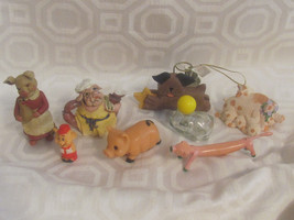 PIG FIGURINES 8-ONE IS AVON-COLLECTION FROM ESTATE-1960'S-70'S-FARM-BARN... - $8.90