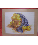 "AUDREY ASCENZO SIGNED 1997 PRINT-COUNTRYAPPLES-BASKET-BLANKET-QUILT16""X2... - $9.99"