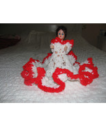 "DOLL 11""-Vintage-PLASTIC-OPEN&CLOSEEYES-HAIR-HANDMADE CROCHETED DRESS-RE... - $2.99"
