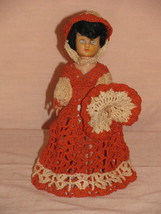 "DOLL VINTAGE 8"" PLASTIC DOLL EMBROIRED DRESS HAT STAND OPEN/CLOSE EYES A... - $10.00"