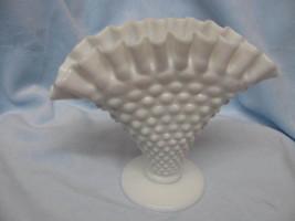 Fenton Milkglass Vase Hobnail Design Scalloped Edge Old - $17.99