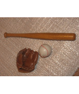 MINIATURE LEATHER LOOK BALL & GLOVE-WOOD BAT-CRAFTS-DOLL ACCESSORIES-DOL... - $7.00
