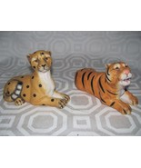CERAMIC 2 ANIMAL FIGURINES-LION-TIGER-SCULPTURE... - $10.94