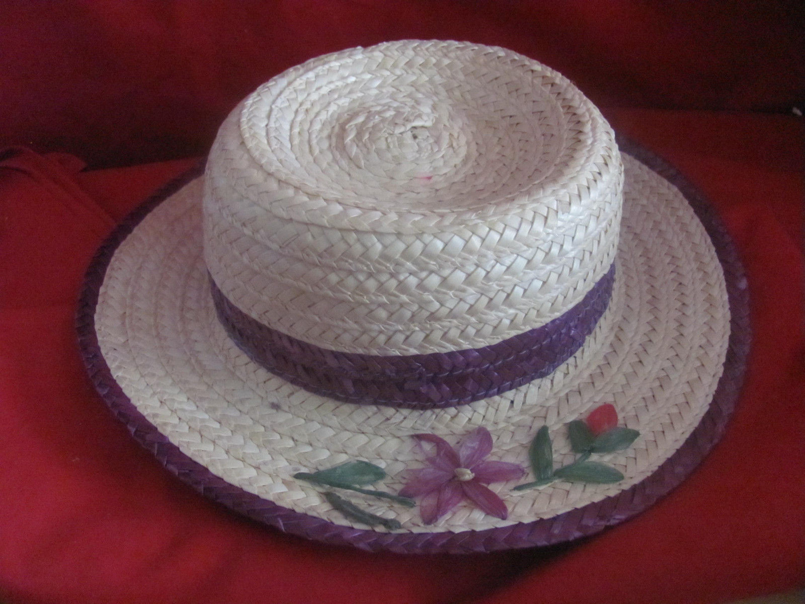 STRAW HAT-CHILDS-NATURAL W/PURPLE TRIM AND FLOWERS-EASTER-BIG DOLL-TIME OUT DOLL
