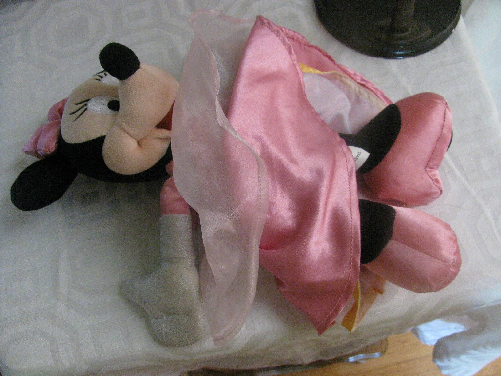 "MINNIE pink satin-AUTHENTIC ORIGINAL DISNEY PARKS-CASTLE EMBLEM ON FOOT-14"""