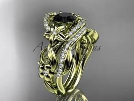 14kt yellow gold diamond wedding  set with a Black Diamond center stone ADLR211S - $2,560.00