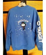 Vintage SNOWDEN mens sweat shirt XL TARGET 1990 holiday snowman blue FLAKY - $15.00