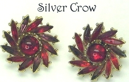 Vintage Dark Red, Red & Purple Rhinestone Swirl Earrings  Clip on - $14.99