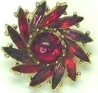Vintage Dark Red, Red & Purple Rhinestone Swirl Earrings  Clip on