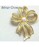 Vintage Napier Gold Tone Pearl Bow Pin Brooch - $17.99