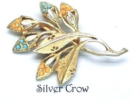 Vintage Gold tone Leaves Branch Brooch Pin Turquoise Peach  - $15.99