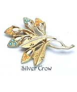Vintage Gold tone Leaves Branch Brooch Pin Turq... - $15.99