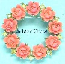 Vintage  Faux Coral Roses & AB Rhinestone Silver Tone Pin Brooch - $20.99