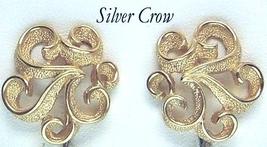 Vintage Crown Trifari Gold Tone Scroll Earrings - $15.99