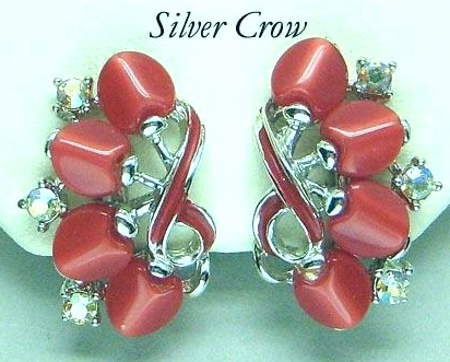 Vintage Red Heart Thermoset, Red Enamel & Rhinestone Silver Tone Earrings