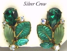 Vintage Dark Green Rhinestone & Green Molded Glass Earrings West Germany - $15.99