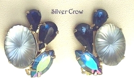 Vintage Blue Rhinestone and Pale Blue Molded Glass Earrings - $11.99