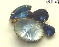 Vintage Blue Rhinestone and Pale Blue Molded Glass Earrings