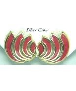 Vintage Gold Tone & Red Enamel Swirl Shaped Ear... - $12.99