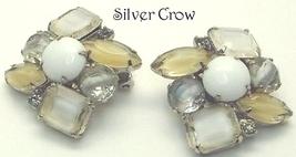 Vintage Kramer Rhinestone and Glass Earrings Cream & White - $11.99