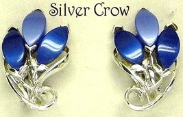 Vintage Deep Blue Thermoset Lucite Leaf Earrings - $10.99