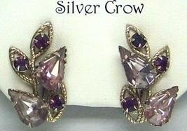 Vintage Light & Dark Purple Rhinestone Gold Tone Earrings - $13.99