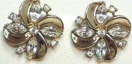 Vintage Crown Trifari Rhinestone & Gold Swirl Earrings - $32.99