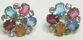 Vintage Gold Fill Multi Color Rhinestone Earrings - $15.99