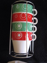 Avon Expressions Set of 4 Red and Green Mugs w Wire Holder CL15-6 - $12.99