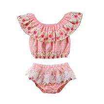 USA Newborn Infant Toddler Baby Girls Lace Flower Tops Pants Shorts Outf... - $8.69