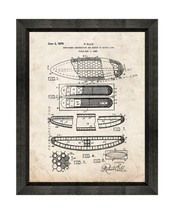 Surfboard Patent Print Old Look with Beveled Wood Frame - $24.95+